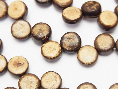 ココナッツ コイン8×8×4mm ブラウン 1連(約38cm)