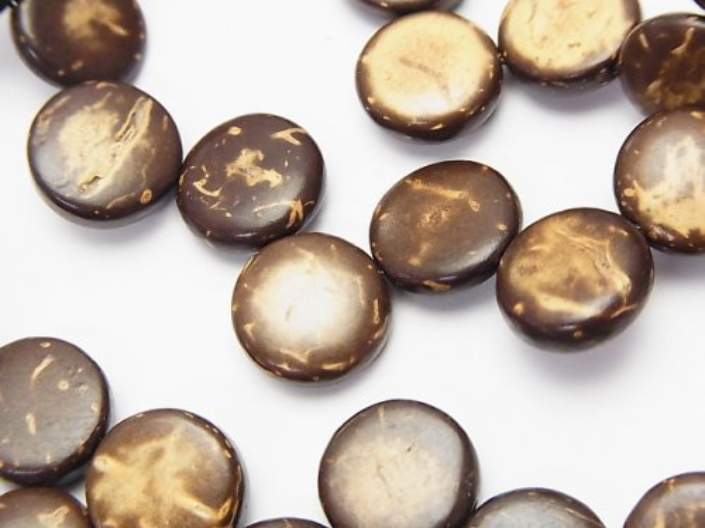 ココナッツ コイン10×10×3mm ブラウン 1連(約36cm)