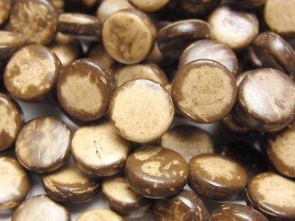 天然石卸 1連280円!ココナッツ コイン10×10×3mm ブラウン 1連(約36cm)