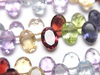 天然石卸 宝石質いろんな天然石AAA オーバルファセットカット7×5mm  半連/1連(約16cm)