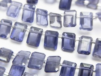 天然石卸 宝石質アイオライトAAA- レクタングルファセットカット7×5mm 半連/1連(約16cm)