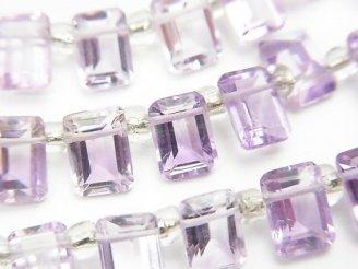 天然石卸 宝石質ピンクアメジストAAA レクタングルファセットカット7×5mm 半連/1連(約18cm)