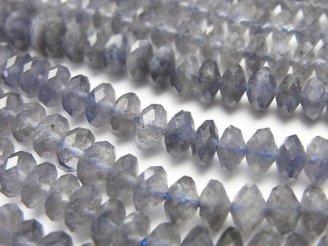 天然石卸 素晴らしい輝き!アイオライトAA+ ボタンカット6×6×3mm 半連/1連(約38cm)