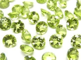 天然石卸 宝石質ペリドットAAA+ 穴なしラウンドファセットカット6×6mm 3粒780円!