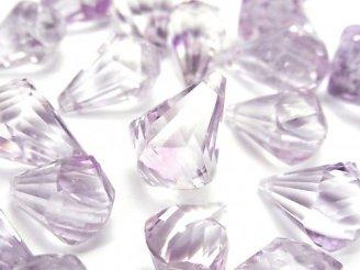 天然石卸 宝石質ローズアメジストAAA- 大粒ドロップ 多面ブリオレットカット 3粒4,480円〜!