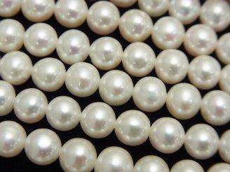天然石卸 1連5,980円!淡水真珠AAA' ラウンド6〜7mm ホワイト 1連(約38cm)