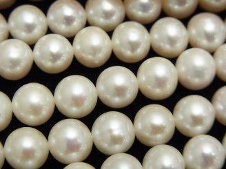 天然石卸 1連3,980円!淡水真珠AAA セミラウンド〜ポテト7〜8mm ホワイト 1連(約38cm)