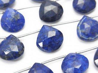 天然石卸 宝石質ラピスラズリAA+ 大粒マロン ブリオレットカット 半連/1連(約14cm)