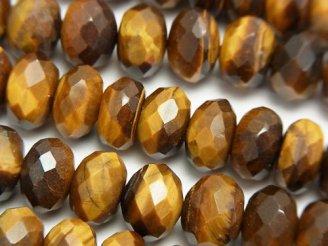 天然石卸 イエロータイガーアイAA++ ボタンカット10×10×6mm 半連/1連(約38cm)