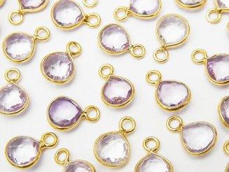 天然石卸 宝石質ブラジル産ピンクアメジストAAA 枠留めマロンカット7〜8mm 18KGP 6個880円!
