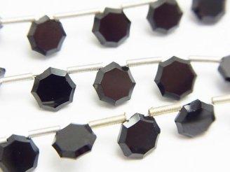 天然石卸 宝石質ブラックスピネルAAA 8面スターカット 半連/1連(約18cm)