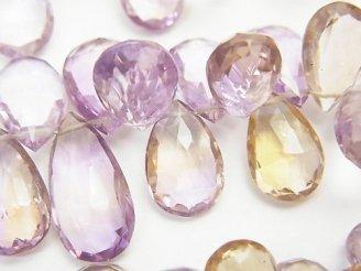 天然石卸 宝石質アメトリンAAA ペアシェイプ ブリオレットカット 半連/1連(約18cm)