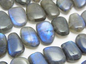 天然石卸 ブルーラブラドライトAA++ フラットタンブル 半連/1連(約38cm)