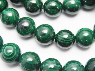 天然石卸 マラカイトAA+ ラウンド10〜11mm 天眼石タイプ 1連(ブレス)