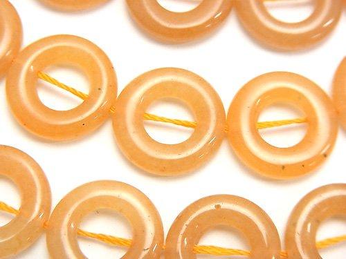 オレンジアベンチュリン コイン(ドーナツ)15×15×4mm半連/1連(約37cm)