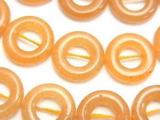 天然石卸 オレンジアベンチュリン コイン(ドーナツ)15×15×4mm半連/1連(約37cm)