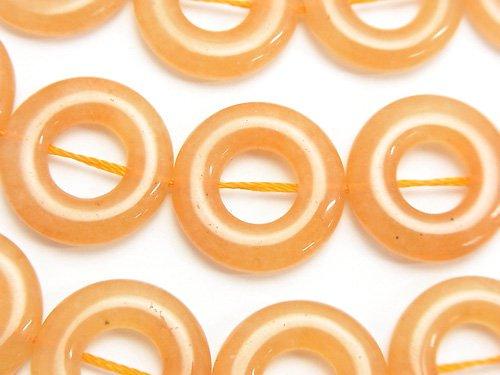 オレンジアベンチュリン コイン(ドーナツ)18×18×4mm半連/1連(約35cm)