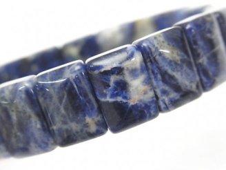 天然石卸 1連1,180円!ソーダライトAA++ 2つ穴レクタングル15×10×5mm 1連(ブレス)