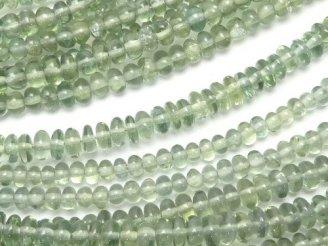 天然石卸 宝石質グリーンアパタイトAAA ロンデル(ボタン) 半連/1連(約30cm)