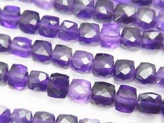 天然石卸 宝石質アメジストAAA キューブカット 半連/1連(約18cm)