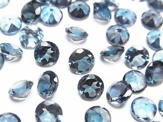 天然石卸 宝石質ロンドンブルートパーズAAA 穴なしラウンドファセットカット6×6×4mm 5粒1,980円!