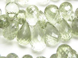 天然石卸 宝石質グリーンアメジストAAA ドロップ ブリオレットカット 半連/1連(約20cm)
