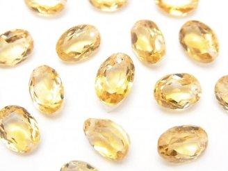 天然石卸 宝石質シトリンAAA オーバルファセットカット9×7×5mm 5粒〜1連(ブレス)