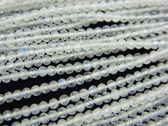 天然石卸 素晴らしい輝き!宝石質レインボームーンストーンAAA 極小ラウンド〜ボタンカット2〜2.5mm 1連(約31cm)