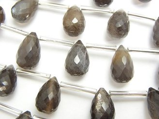 天然石卸 宝石質シルバーシャイン ブラウン〜グレームーンストーンAAA ドロップ ブリオレットカット12×8×8mm 半連/1連(10粒)