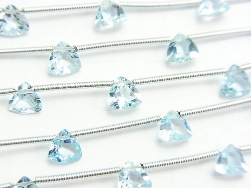 宝石質スカイブルートパーズAAA トライアングルファセットカット6×6×4mm 1連(8粒)