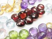 天然石卸 宝石質いろんな天然石AAA- 大粒マロン ブリオレットカット 半連/1連(約18cm)