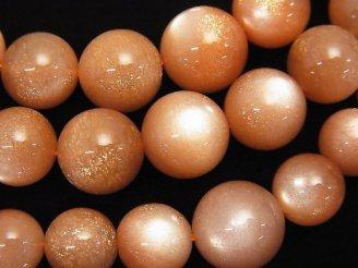 天然石卸 宝石質オレンジムーンストーンAAA ラウンド4〜12mm サイズグラデーション 1連(約43cm)