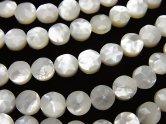 天然石卸 高品質ホワイトシェル(白蝶貝) コインカット(スター模様)6×6×3 半連/1連(約38cm)