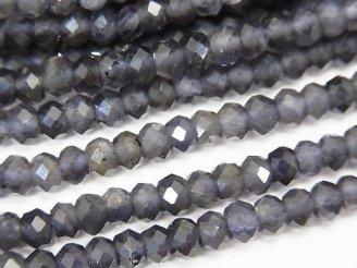 天然石卸 素晴らしい輝き!宝石質アイオライトAA++ ボタンカット4×4×3mm 半連/1連(約37cm)