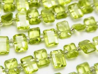 天然石卸 宝石質ペリドットAAA- レクタングルファセットカット7×5×3mm半連/1連(約17cm)