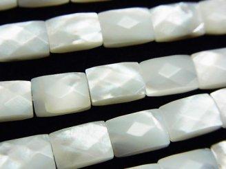 天然石卸 高品質ホワイトシェル(白蝶貝)AAA レクタングルカット10×7×4 半連/1連(約38cm)