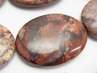 天然石卸 レッドピクチャージャスパー 大粒オーバル40×30×10 半連/1連(約32cm)