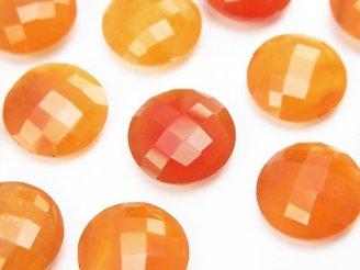 天然石卸 宝石質カーネリアンAAA 穴なしコインクッションカット14×14mm 3粒1,780円!
