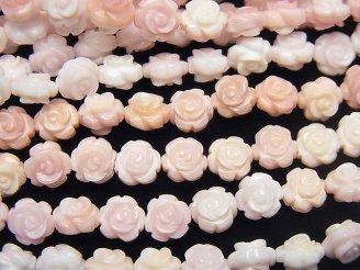 天然石卸 クィーンコンクシェルAAA 薔薇彫刻(両面仕上げ)6mm 1/4連〜1連(約38cm)