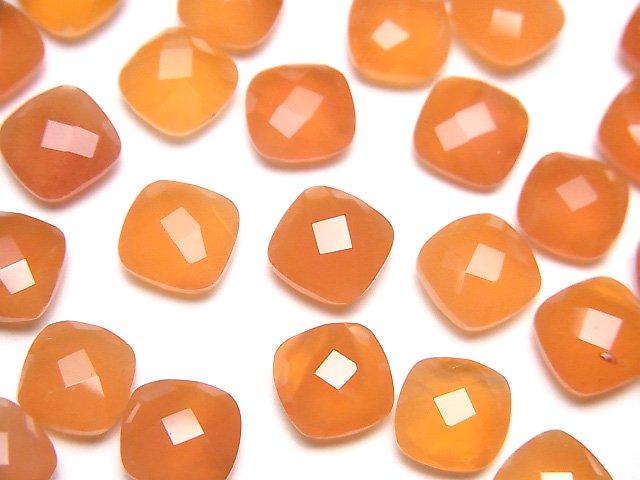宝石質カーネリアンAAA 穴なしスクエアクッションカット8×8mm 5粒