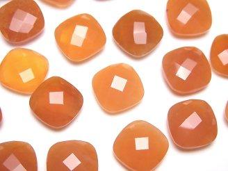 天然石卸 宝石質カーネリアンAAA 穴なしスクエアクッションカット12×12mm 3粒1,580円!