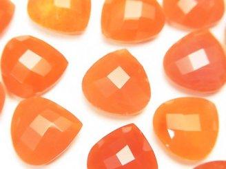 天然石卸 宝石質カーネリアンAAA 穴なしマロンクッションカット12×12mm 3粒1,380円!