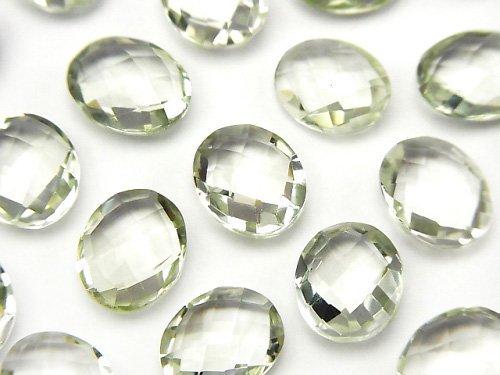 【動画】宝石質グリーンアメジストAAA 穴なしオーバルクッションカット11×9×5mm 4粒