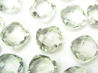 天然石卸 宝石質グリーンアメジストAAA 穴なしスクエアクッションカット10×10×5 4粒880円!