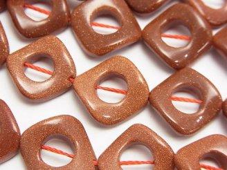 ゴールドサンドストーン ツイストダイヤ(ドーナツ)17×17×3mm 半連/1連(約37cm)