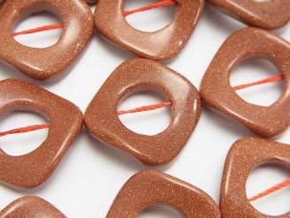 天然石卸 ゴールドサンドストーン ツイストダイヤ(ドーナツ)22×22×3mm 半連/1連(約36cm)