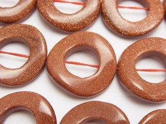 ゴールドサンドストーン ツイストコイン(ドーナツ)25×25×5mm 半連/1連(約37cm)