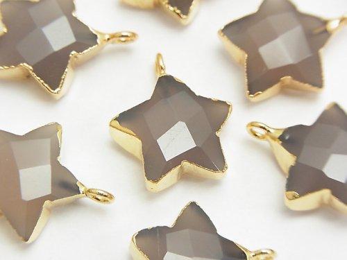 グレーオニキス カット入りスター型 チャーム14〜15mm ゴールドカラー 2個