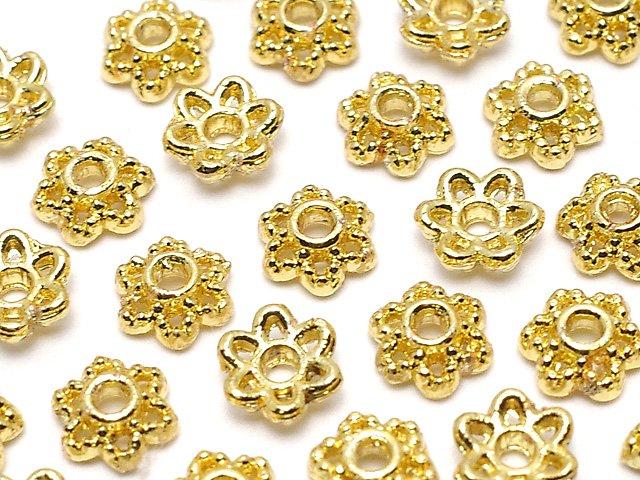メタルパーツ ビーズキャップ4×4×1.5mm ゴールドカラー 10個