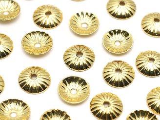 天然石卸 メタルパーツ ビーズキャップ5×5×1.2mm ゴールドカラー 10個140円!